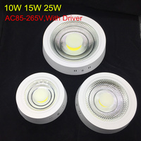 Surface Ceiling Panel Light 10W 15W 25W LED Downlight Warm/Natural/Cold White AC85 265V Round COB LED Indoor light With Driver