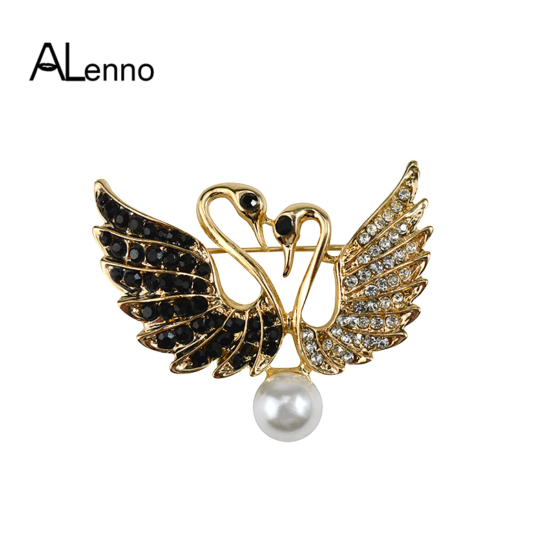ALenno Metal Alloy Balck&Gold Wings Swan Brooch Pin Rhinestones For Clothes golden goose Banquet Corsage Jewelry Free shipping
