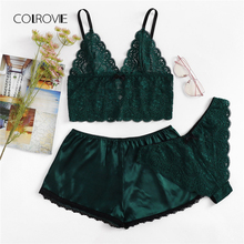 COLROVIE Army Green Sexy Floral Lace Cami Lingerie Set Burgundy Women Bra And Brief Sets Wireless Sexy Underwear Bra Set