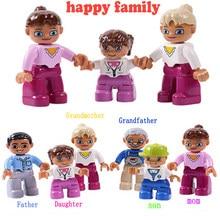 Diy duploed mini figura tijolos bebê mãe pai trabalhador crianças modelo blocos de construção compatível marca brinquedos para crianças presente