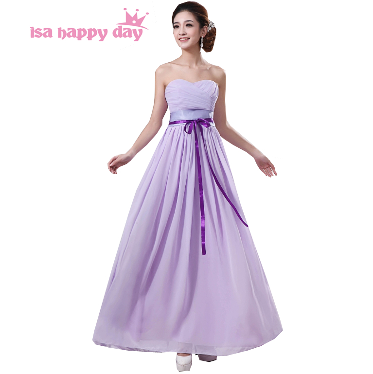 Long Light Purple Chiffon Bridesmaid Party Plus Size Formal