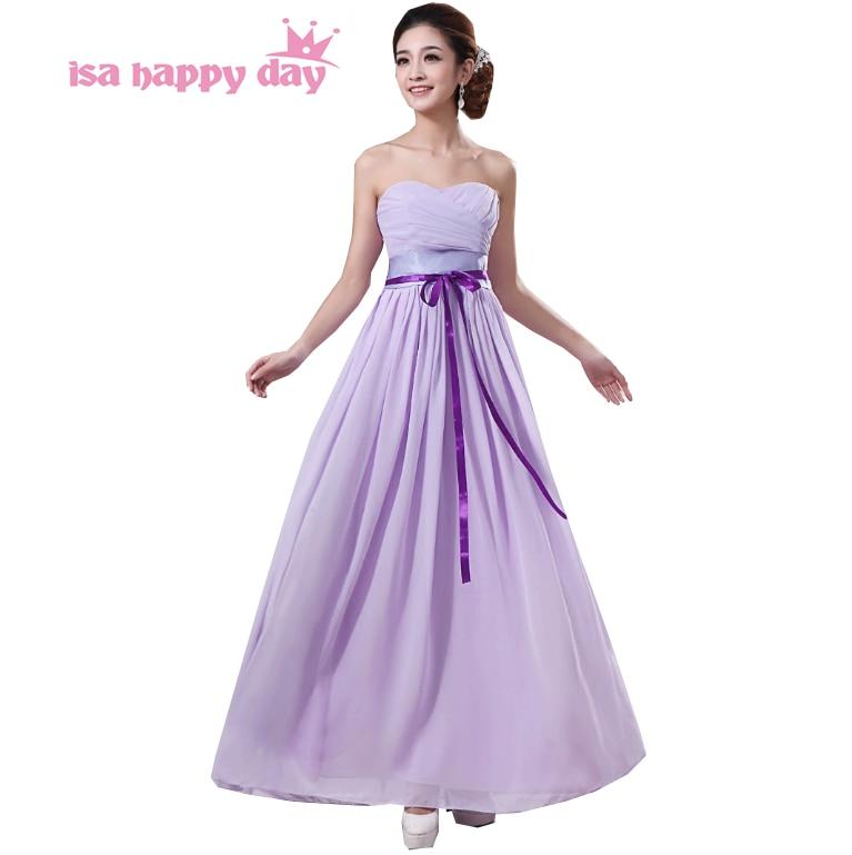 ①long Light Purple Chiffon Bridesmaid Party Plus Size Formal