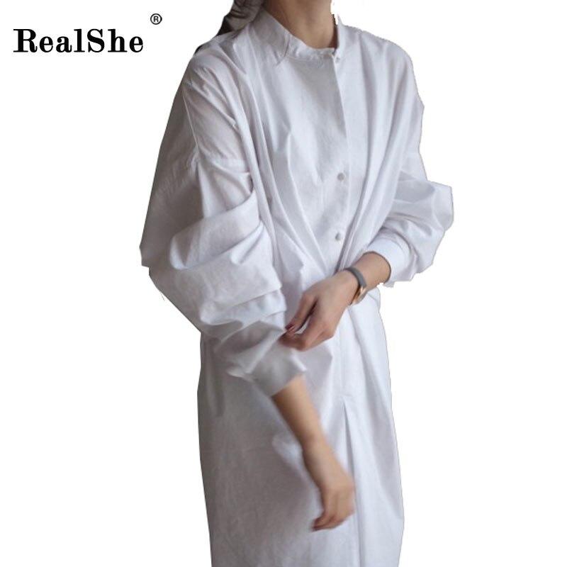 RealShe Casual Shirt Dresses Women Autumn Dress 2018 Elegant Back Pleated Dresses Long Sleeve Ladies Dress