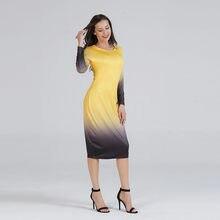 2018 Women Autumn Dresses Woman Long Sleeve Dress Gradual Change Colorful  Jersey Dress Party Rainbow Plus Size Dresses 3e51c52e23dd