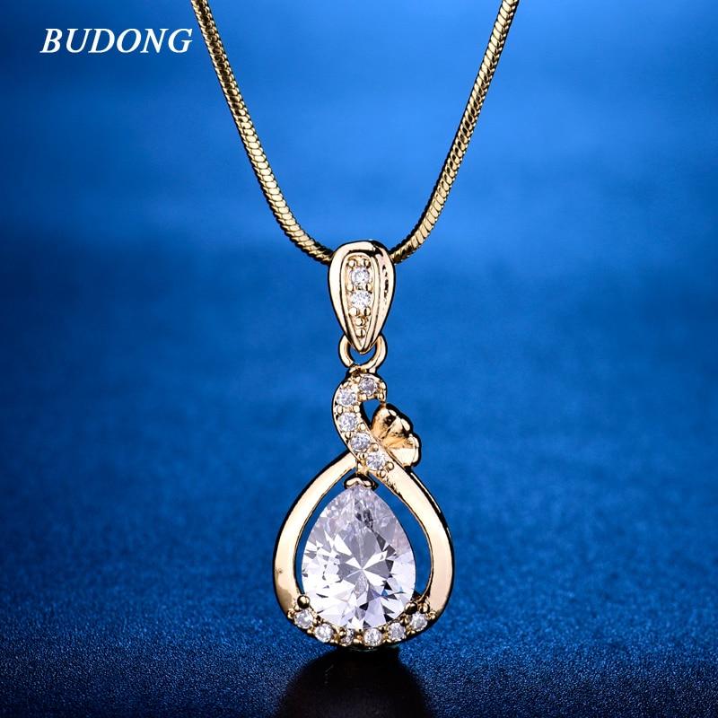 e88a7b0d3ca1 Budong moda teardrop Rosa diapositiva de cristal colgante con serpiente  cadena collar plata oro-color cubic zirconia joyería XUP005