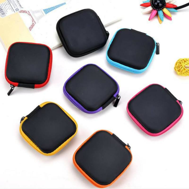 Mini Square Holder Clip Dispenser Desk Organizer Bags Headphones Earphone Cable Earbuds Storage Pouch Bag Case 7.5*7.5*3.5cm