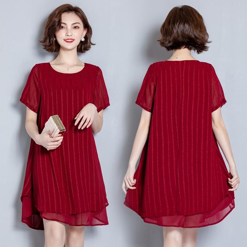 EAD Women Fashion Striped Summer Dress Chiffon Elegant Dresses Casual Plus Size 5XL O Neck Ladies Short Sleeve Dress Vestido