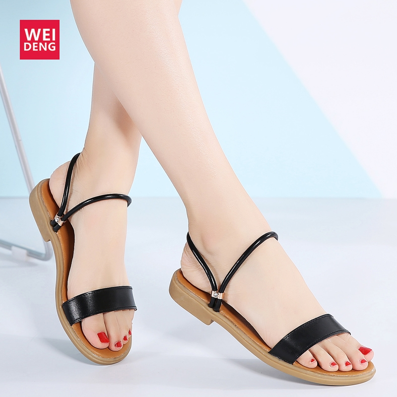 Weideng Summer Sandals Women Beach Flip Flops Flat Elegant Ladies Shoes Suede Leather Slip on Light Thong Band Zapatos MujerWeideng Summer Sandals Women Beach Flip Flops Flat Elegant Ladies Shoes Suede Leather Slip on Light Thong Band Zapatos Mujer