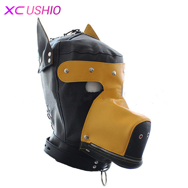 PU Leather Yellow Black Dog Adjustable Head Bondage Hoods Adults game Toys With ears Eyes Open Head Cover Slaves