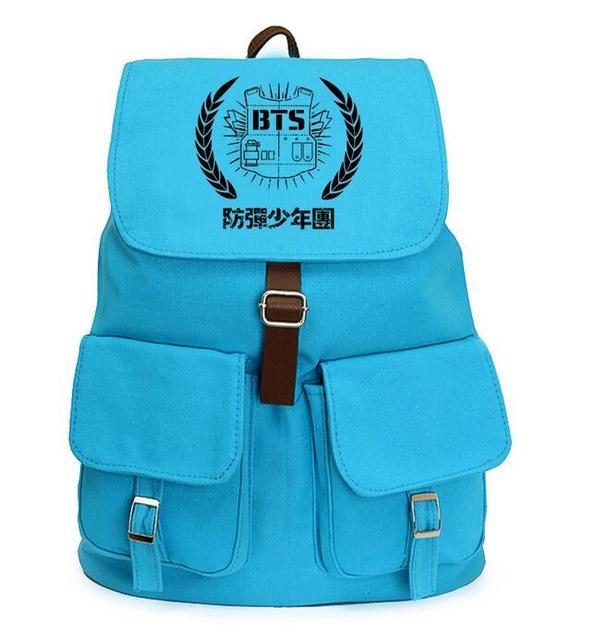 Kpop bts bangtan meninos jimin suga azul mochila coréia do estilo mochila de lona mochila escolar