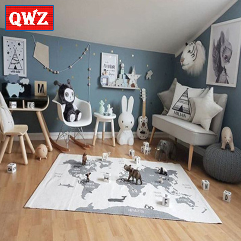 QWZ Child Adventure World Map Floor Play Mat Carpet Racing Game Pad Kids Play Mat Baby Kids Outdoor Rectangular Carpet learning carpets us map carpet lc 201