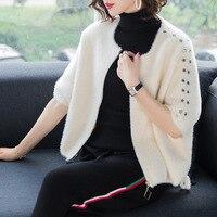 Твердые рукава летучая мышь свободно большие размеры короткий свитер пальто 2018 Новый o образным вырезом женские на осень зиму толстые мохер