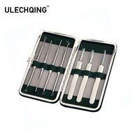 ULECHQING 7 pcs/set black head remover tool acne extractor kits blackhead eliminator with Green bag For Nose Face ear care