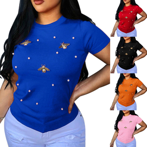 Summer Fashion Solid Female T-Shirt Short Sleeve Casual Fit Round Neck Basic T-Shirt Hot New Beading Red T-Shirts For Women