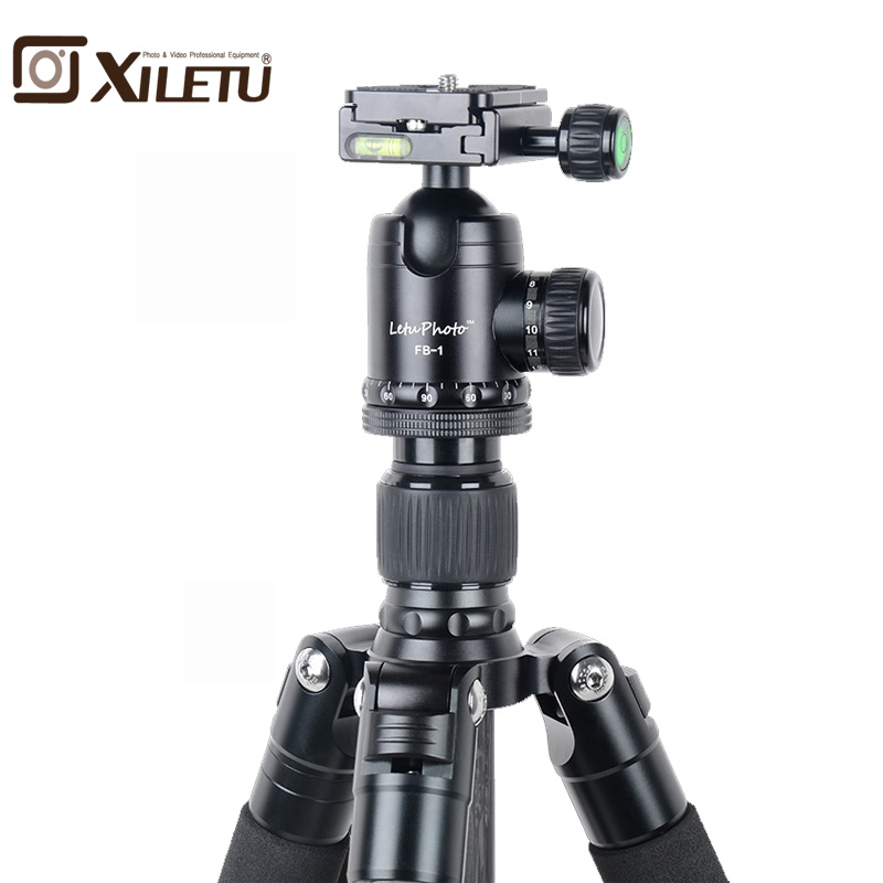 Xiletu L-284C+FB-1 Pro Stable Carbon Fiber Tripod and Ball Head Removable Mnonpod For DSLR Digital Camera Canon Nikon Sony bexin 4 sections carbon fiber camera tripod ball head kits camera monopod head for canon nikon sony digital camera