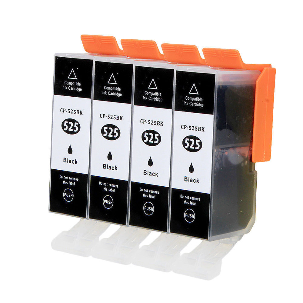 4X Black Ink Cartridge PGI-525 CLI-526 for Pixma MG5250 MG5350 IP4850 IP4950