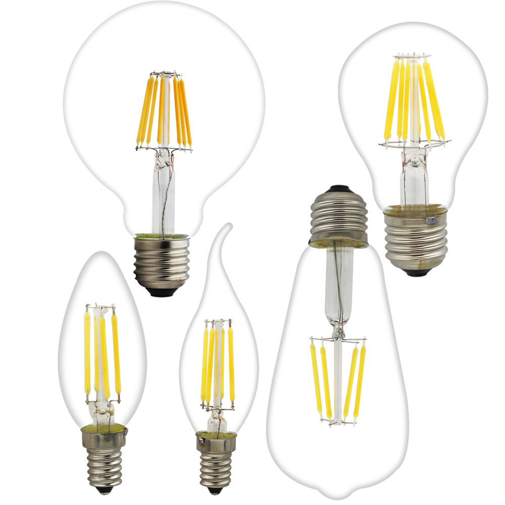 Antique LED E27 Bulb Retro Lamps 220V LED Filament Light E14 Glass Ball Bombillas LED Bulb Edison Candle Light 2W 4W 6W 8W 5pcs e27 led bulb 2w 4w 6w vintage cold white warm white edison lamp g45 led filament decorative bulb ac 220v 240v