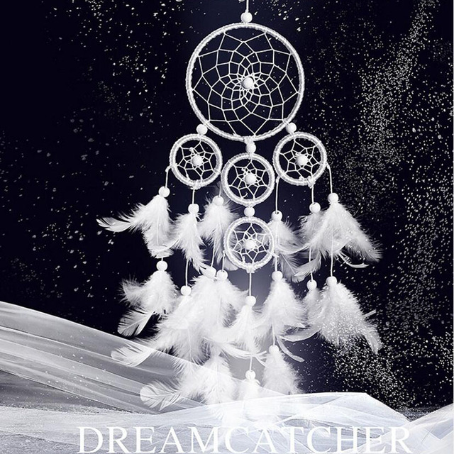 Complètement et à l'extrême White 5 Circles Dreamcatcher Handmade Wind Chimes Dream Catcher @AI_05
