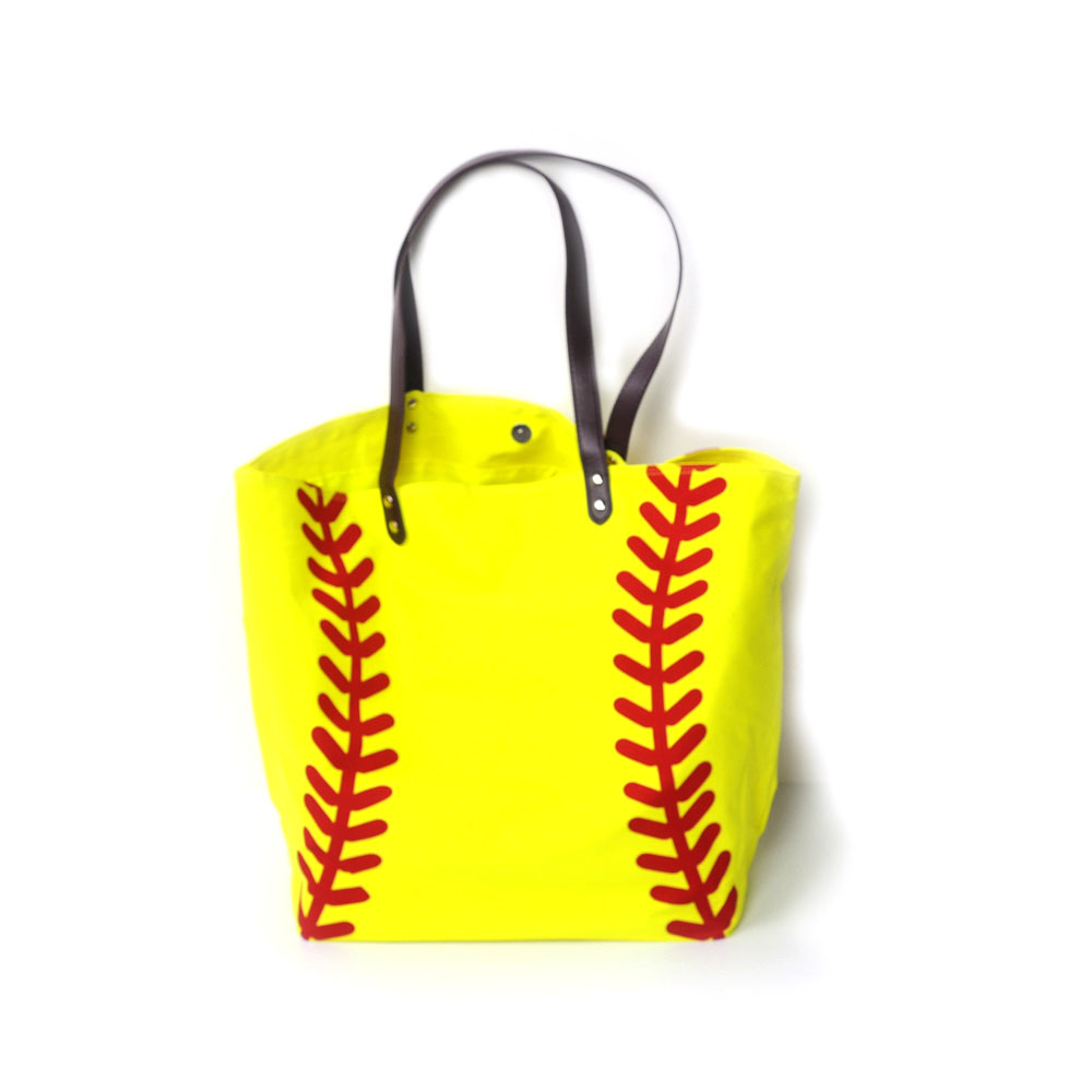 3d6546f92d Atacado Espaços Em Branco Fechamento Tote Sacos de Lona Bolsa Casual com  Ferrolhos Softball Amarelo com Impressão Vermelho DOM103281