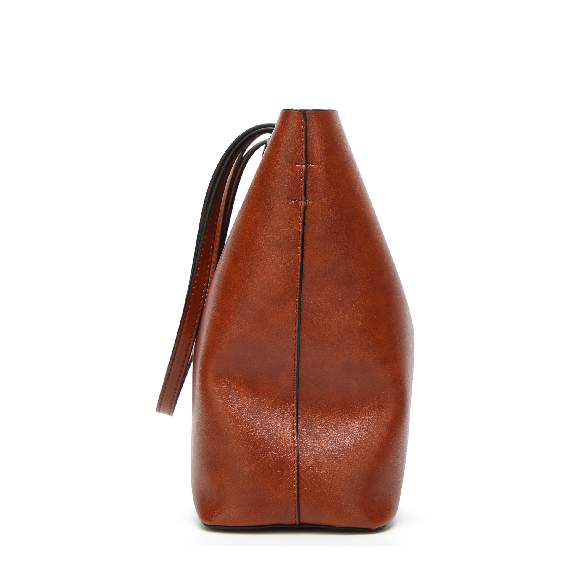 Image 3 - Сумка ведро из вощеной кожи, простая сумка через плечо с двойным ремешком для женщин 2018, универсальная сумка для шоппингаСумки с ручками   -