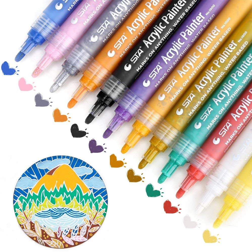 Paint Pens for Rock Painting, Acrylic Paint Markers for Rocks, Glass, Fabric, Canvas, Ceramic, Metallic, Wood, 8 12 24 colors acrylic medium tip paint markers set of 24 colors for rock art glass painting ceramic porcelain metal wood fabric