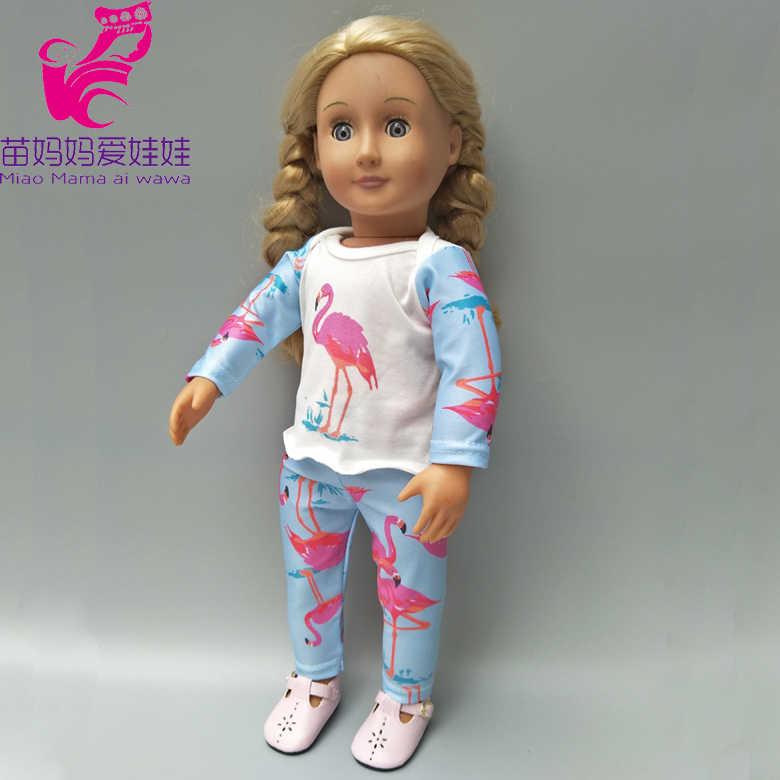 人形服のズボン 18 インチガール人形長袖シャツクリスマスギフトに子供ガール新生児人形服着用