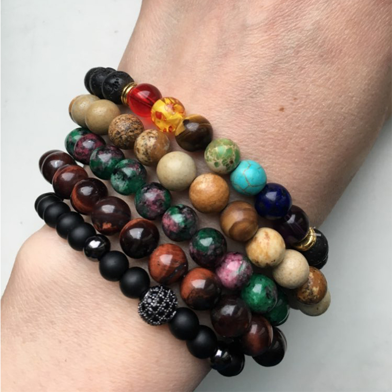 Agate Lava Tiger Eye Stone Beads Bracelet
