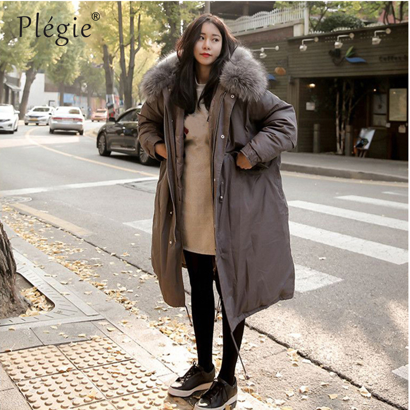Plegie 2018 Winter Coat Women Large Fur Collar Hooded Long Jacket Thick Warm Korean Padded   Parka   Oversized   Parkas   Mujer