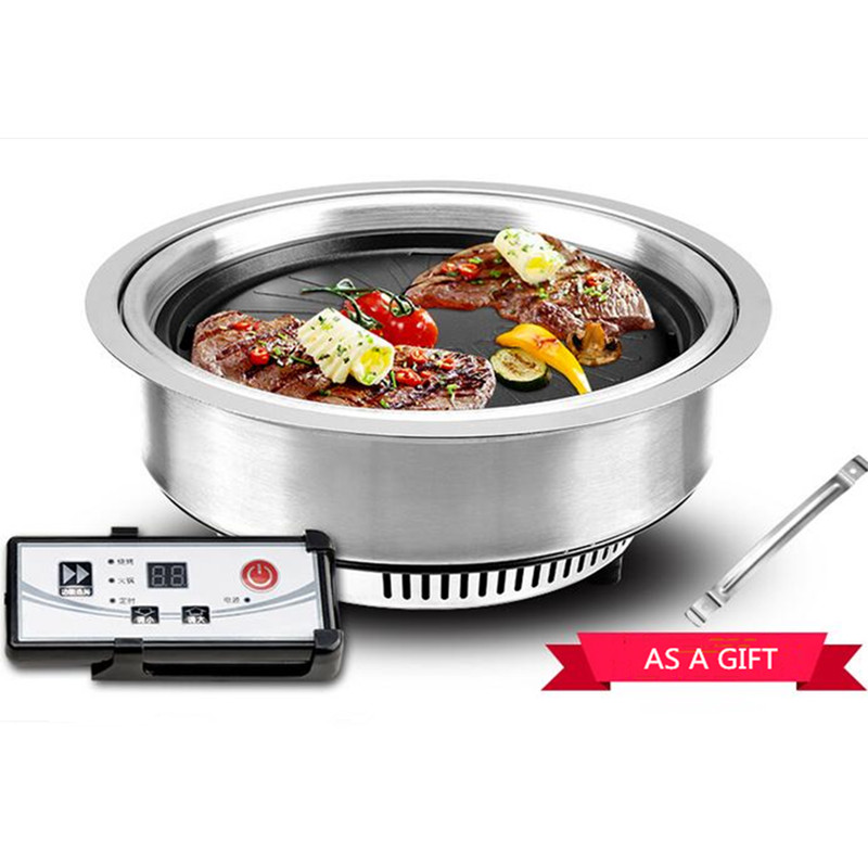 220V Smokeless Electric Round Embedded Circular Barbecue Pot Infrared Grill Non-stick Commercial And Household BBQ Grade 220v electric bbq grade machine non stick commercial and household barbecue grill smokeless machine square and round plate