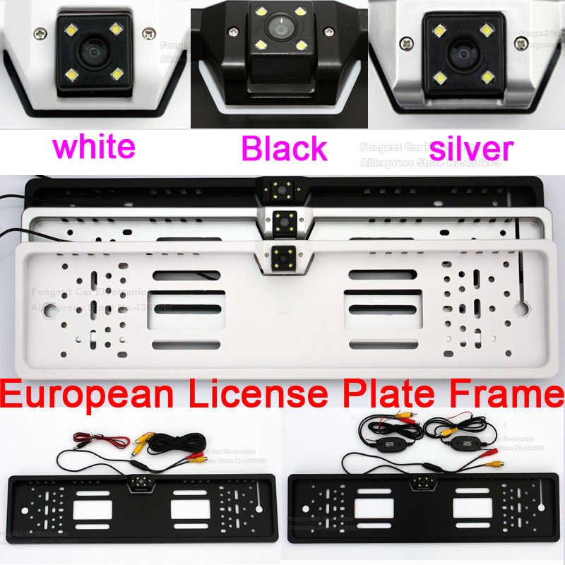 Voertuig Europese Nummerplaat Frame Backup Auto Nummer Reverse Rear View Parking AV Jack Draadloze Auto Camera 5 4.3 inch monitor
