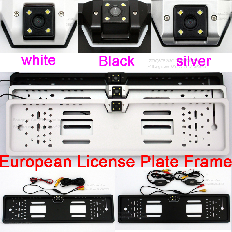 170 degree CCD HD Night Vision European License <font><b>Plate</b></font> Frame Backup <font><b>Car</b></font> Number Rear View Reverse Wire/ Wireless Camera Waterproof