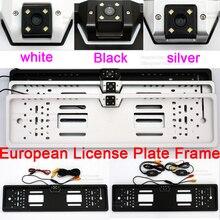 Автомобиль Европейский кадр номерных знаков резервного копирования номер автомобиля заднего вида обратной парковочная AV Jack Беспроводной Авто Камера 5 4,3 дюймов монитор