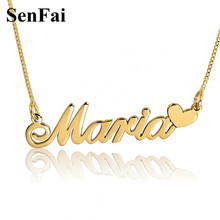 Senfai Personalized Name Necklace gold chain for men gothic Famous brand jewelry stainless steel chain Mom Mothers Day Gift
