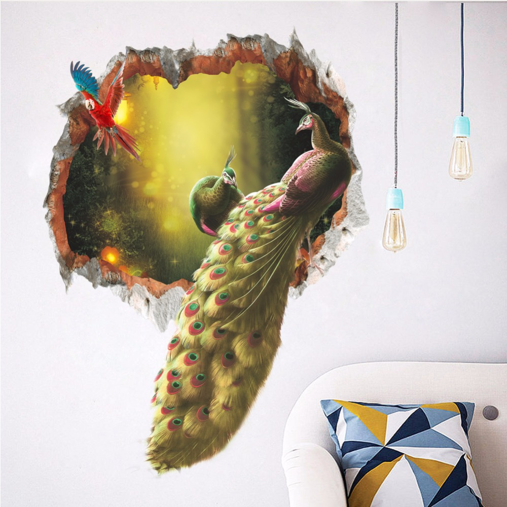 New Limited Direct Selling Animal Wall Stickers Peacock 3d Pvc Sticker Home Decoration Removable Diy Self-adhesive 2018 Arrival