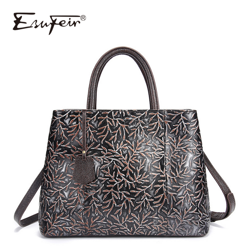 ESUFEIR Brand Genuine Leather Luxury Handbags Women Bags Designer Vintage Embossed Cow Leather Shoulder Bag Tote Bags sac a main classic black leather tote handbags embossed pu leather women bags shoulder handbags elegant