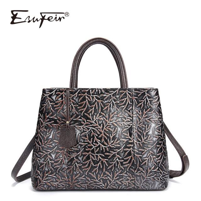 08b78bef5d1 ESUFEIR Brand Genuine Leather Luxury Handbags Women Bags Designer Vintage  Embossed Cow Leather Shoulder Bag Tote Bags sac a main