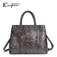 ESUFEIR Brand Genuine Leather Luxury Handbags Women Bags Designer Vintage Embossed Cow Leather Shoulder Bag Tote