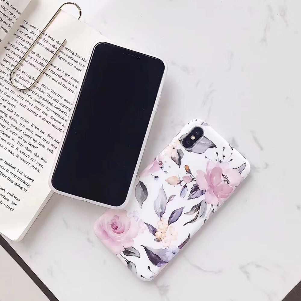 Manque Rose mat aquarelle floral coque de téléphone pour iphone XS Max X 8 6 6S 7 Plus XR 11 11Pro Max mignon fleurs doux IMD couverture arrière
