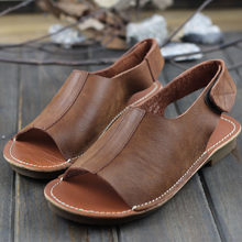 Women's Sandals Genuine Leather Hook&Loop Ladies Sandals Woman Summer Shoes Flexible Soft Sole Female Footwear (128-8)(China)