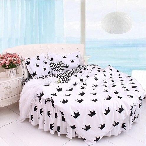 Round Bed Crown Design Bedding Kit Super California King Size Sweet