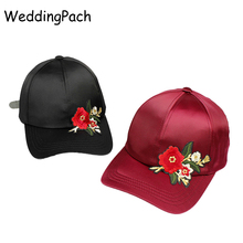 New Women Baseball Caps Flower Silk Ladies Caps Summer Rose Embroidery Female Hats Vintage Women Caps 2017 Women's Accessories