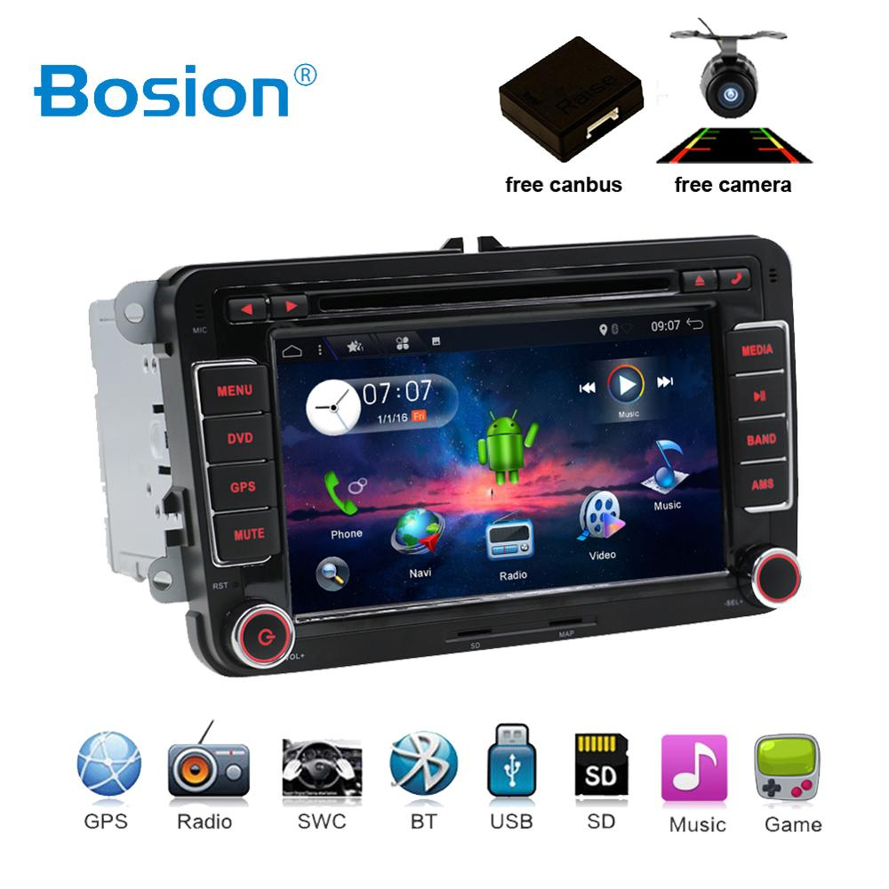 2 two din Aux gps Quad 4 Core android 7.1 car dvd player TV For VW Skoda POLO GOLF 5 6 PASSAT CC JETTA TIGUAN TOURAN Fabia Caddy