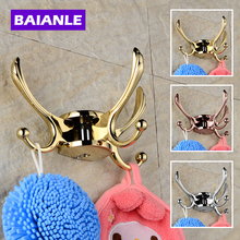 лучшая цена Free shipping Rotation three hooks gold wall clothes rack cloth hook wall hook Robe Hook for Bathroom Accessory Hanger