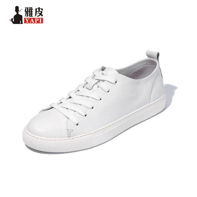 สหรัฐ6 10เทรนด์นุ่มหนังแท้บุรุษลูกไม้ขึ้นรองเท้าผ้าใบแฟชั่นเด็กนักเรียนสบายๆแบนรองเท้าหนังสีขาว-ใน รองเท้าลำลองของผู้ชาย จาก รองเท้า บน   1