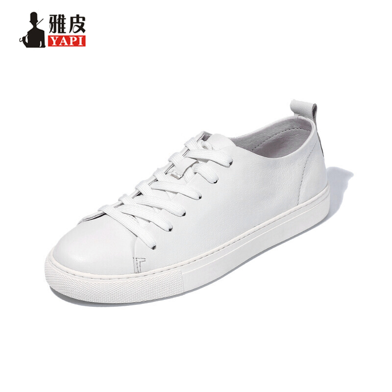 US 6-10 Trendy Soft Genuine Leather Mens Lace Up Fashion Sneakers Boys Students Casual Flat White Leather Shoes us 6 10 trendy mens lace up soft genuine leather sneaker shoes boys students casual outdoor white leather shoes