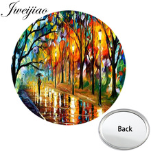 JWEIJIAO Famous Painting The Light Street Mini Round Flat Pocket Mirror Colorful Compact Portable Makeup Vanity Hand Mirrors