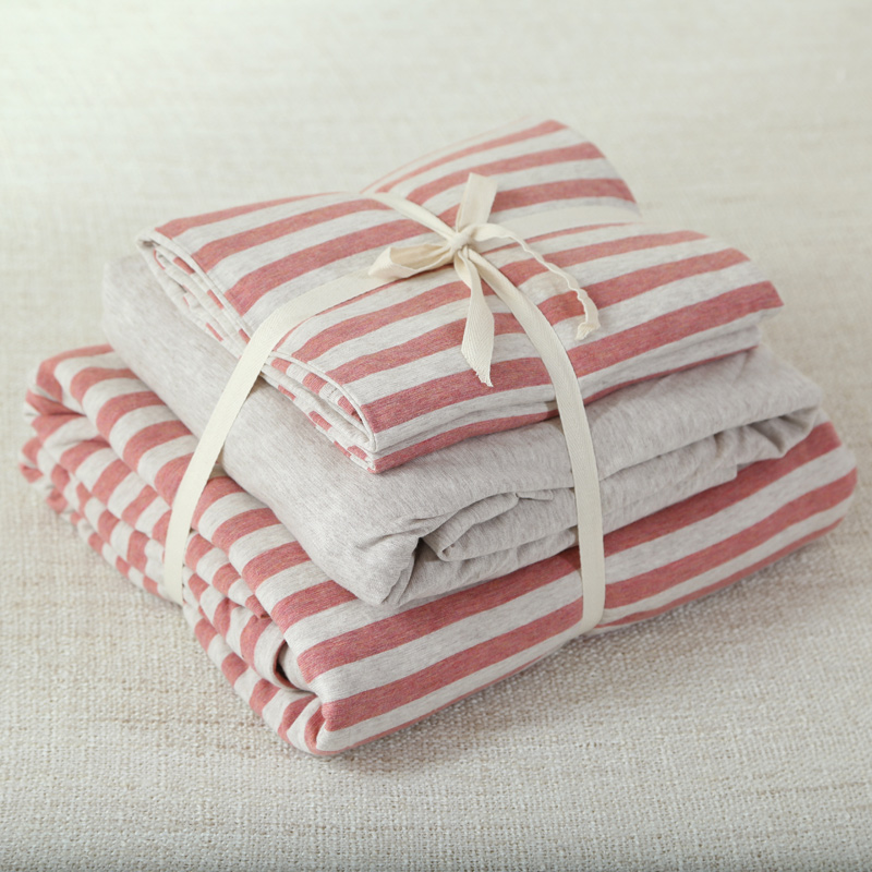 4pcs 100 cotton super soft jersey knit bedding set dark red stripe blanket covers queen king size with fitted sheet - Jersey Knit Sheets