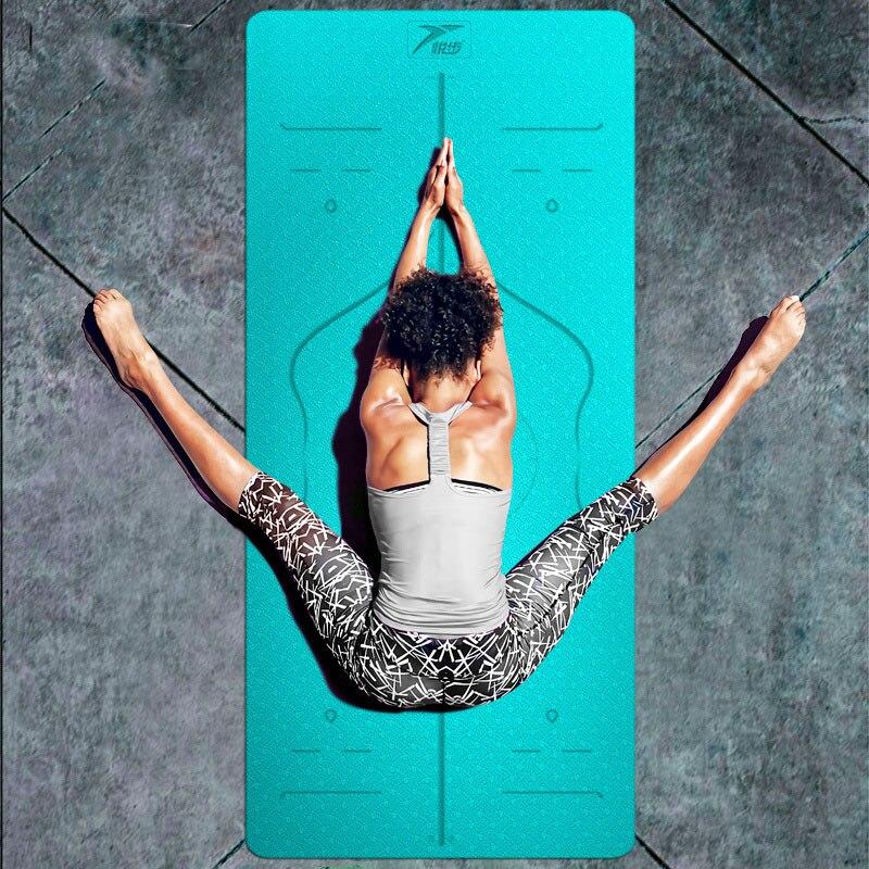 Tapis élastique antidérapant de Yoga de 6MM TPE pour le gymnase multicolore de tapis de stratification de tapis de Pilates de forme physique environnementale de débutant Mats183 * 80cm