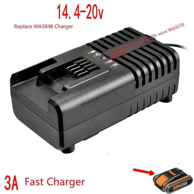 3A 14.4 v 16 v 18 v 20 v li-ion chargeur de batterie Rapide pour Worx WA3570 WA3551.1 100-240 V