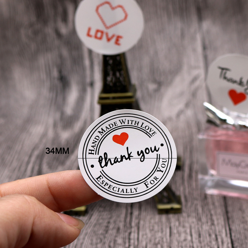 Купить с кэшбэком 100PCS/lot Vintage Love Thank you Round Kraft Seal sticker For handmade products Label